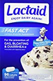Lactaid Fast Act Lactose Intolerance Relief Caplets with Lactase Enzyme, 96 Travel Packs of 1-ct, 96 Count