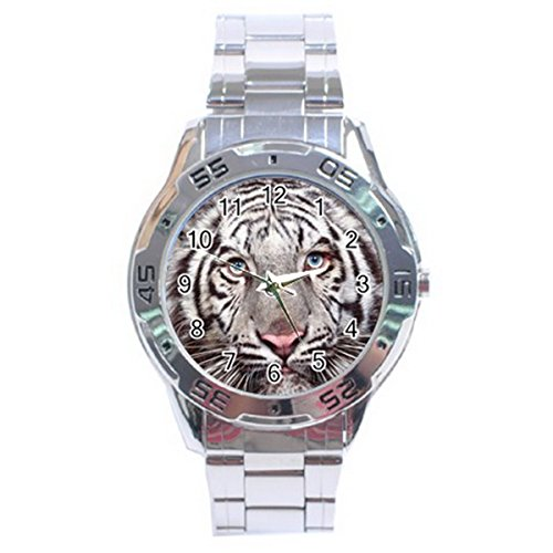 Tigers Sport Steel Watch (White Tiger Stainless Steel Analogue Watch Men Sport Fashion HOT Gifts NEW)