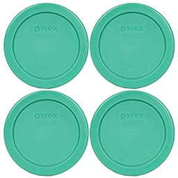 Pyrex 7202-PC Round 1 Cup Green Plastic Lid Cover (4 Pack)