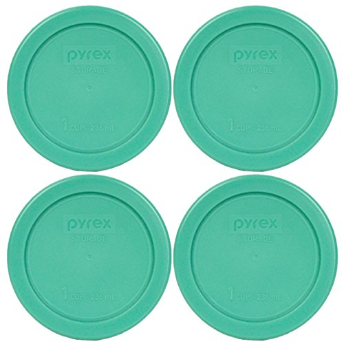 Pyrex 7202-PC Round 1 Cup Green Plastic Lid Cover (4 Pack) (1 Bowl Cup)
