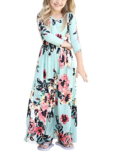 Dongpai Girls Floral Print 3/4 Sleeve Casual Holiday Beach Flared Maxi Dress With -