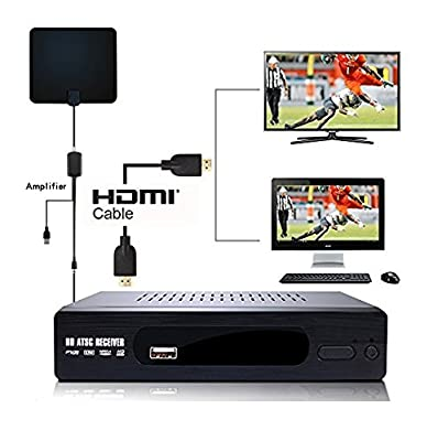 (2018 Version) HD Antenna ATSC TV Converter Box HDMI Out 1080p w/ 35 miles Flat HD Indoor OTA Antenna, Time Shift Pause Live Show Daily or Weekly Schedule Recording Multimedia Player
