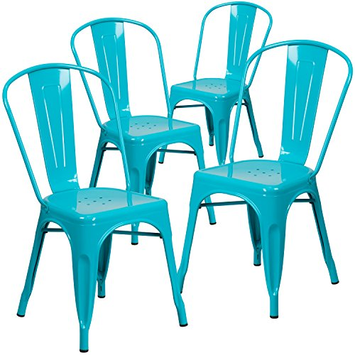 (Flash Furniture 4 Pk. Crystal Teal-Blue Metal Indoor-Outdoor Stackable Chair)
