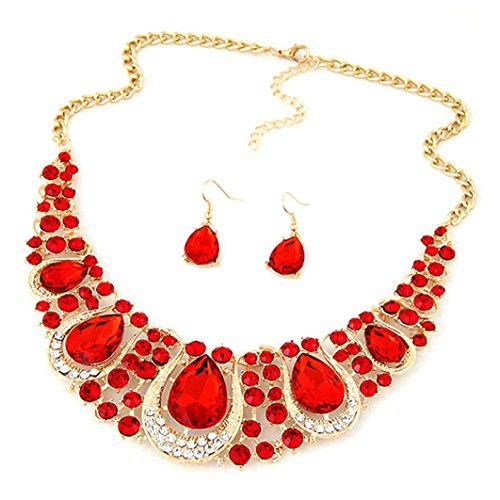 Costumes Jewellery Cocktail Rings (DDLBiz Fashion Elegant Crystal Pendant Necklace Earring Set Cocktail Party Charm Jewelry (Red))