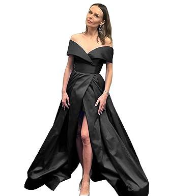 a43e0bb8dc65 MARSEN Off Shoulder Prom Dresses Long Slit Satin A-Line Hi-Lo Formal Evening