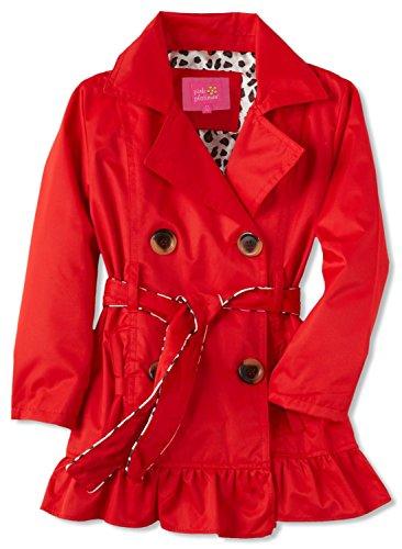 Pink Platinum Little Girls' Toddler Leopard Lining Trench Raincoat Jacket, Red, 4T by Pink Platinum (Image #2)