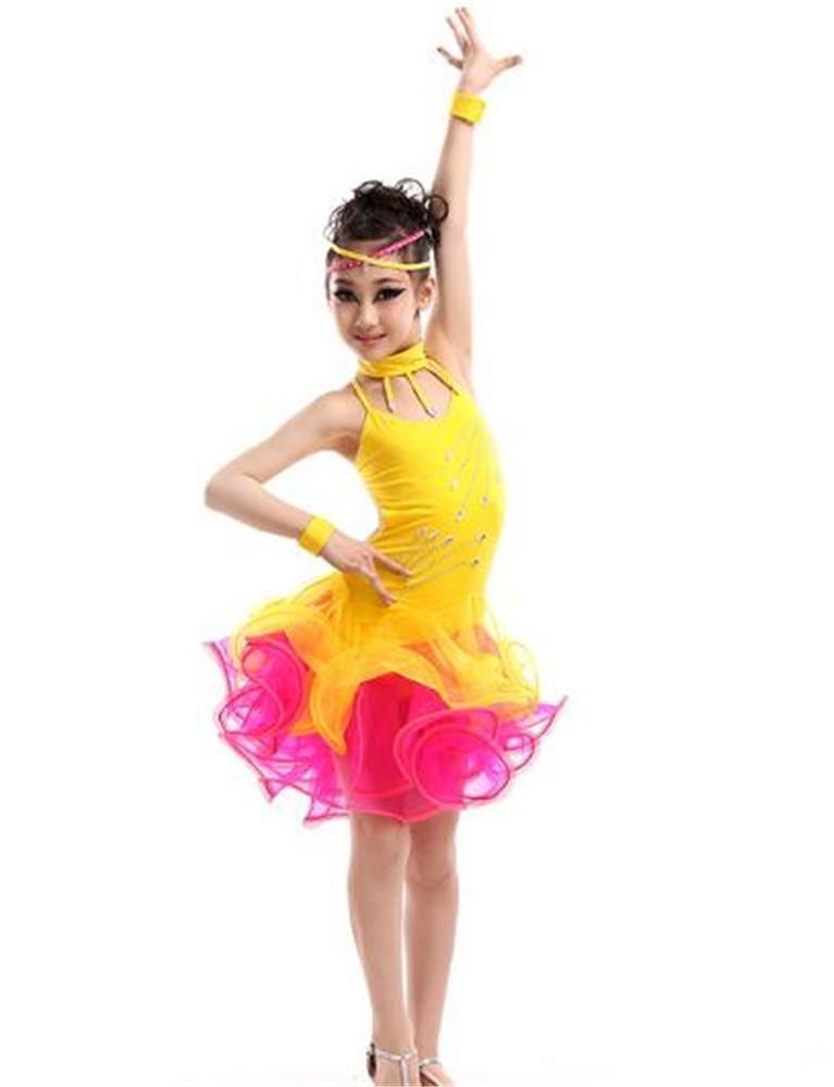 Jaune peiwen Robe de Danse Latine pour Enfants Spectacle de scène Jupe de Danse pour Fille 110cm