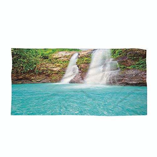 iPrint Cotton Microfiber Beach Towel,Waterfall,Waterfall and Clear Natural Pool Plants Sunbeams Summer Day View,Aqua Green Light Brown,for Kids, Teens, and Adults