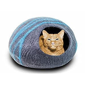 MEOWFIA Premium Felt Cat Cave Bed (Large) - Eco Friendly 100% Merino Wool Bed for Large Cats and Kittens (Asphalt/Aquamarine) 71