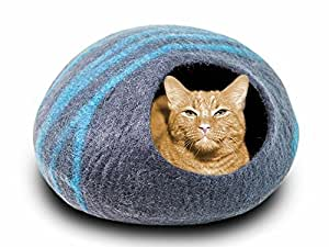 MEOWFIA Premium Felt Cat Bed Cave (Medium) - Handmade 100% Merino Wool Bed for Cats and Kittens (Black/Aqua/Medium)