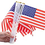 LOOPJOYGAME US Stick Flags 100 Pack, Small Hand Held American Flags 5.5 X 7.8 Inch, Mini USA Flags with 12 Inch White Solid Pole with Ball Top 100pcs For Sale