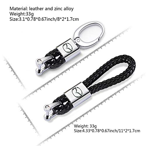 Mycaron Handmade Braided Genuine Leather Car Keychain for Man and Woman