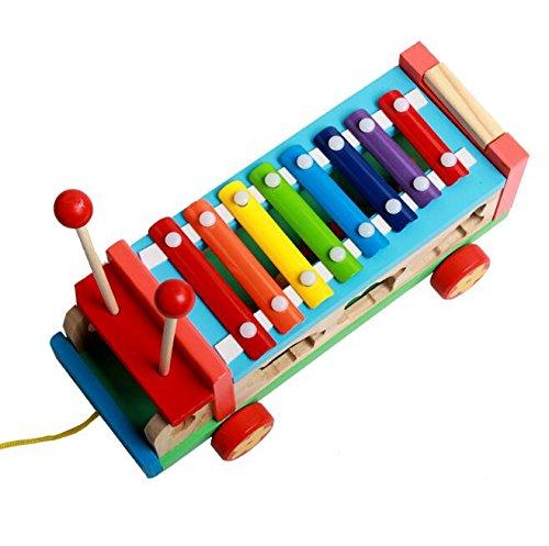 Coloré Voiture en bois avec Xylophone Pull AlongToy pour enfants enfants Keyi le