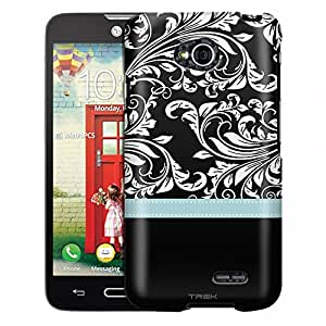 LG Realm Case, Slim Fit Snap On Cover by Trek White Damask Flowers on Black Turquoise Ribon Case