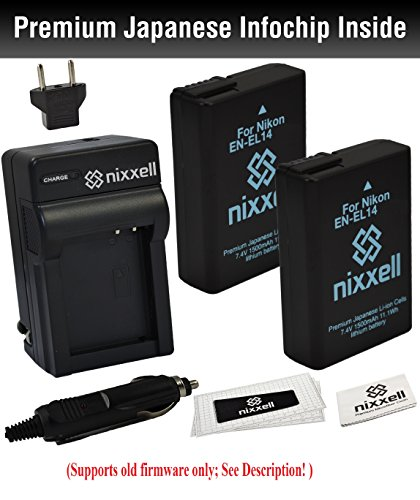Combo Kit WT Nixxell Battery (2pack) and charger for Nikon EN-EL14, EN-EL14a,MH-24 and Nikon P7000, P7100, P7700, P7800, D3100, D3200, D5100, D5200, D5300, Df (Fully Decoded) - Led Upgrade 3 Cell Cord