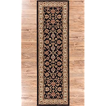Noble Sarouk Black Persian Floral Oriental Formal Traditional Rug 3x10 27 X