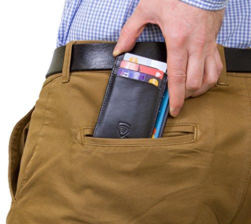 KORUMA® RFID Kartenhalter - schlankes Design - Voll zertifizierten Schutz - 100% Büffelleder - TAP&GO