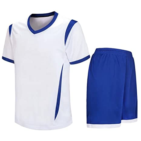 Amazon.com: ZEVONDA Adult Child Breathable Sportswear Polyester Football Clothes T-shirt & Shorts Set Team Training Sports Suit All Sizes: Clothing