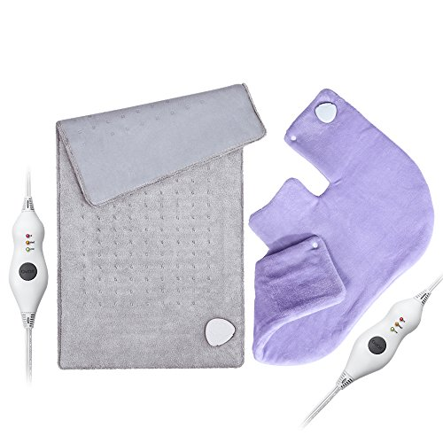 Heating Pad Gift Set of 2 - King Size 18'' x 25'' Shoulder Heating Pad and 12'' x 24'' Fast Heating Wrap with Auto Shut Off for Back, Neck and Shoulder, Abdomen, Waist Pain Relief, Dry/Moist Option by PROALLER (Image #9)
