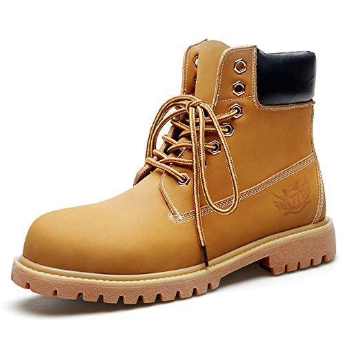 (Men's Casual Tooling Boots Round Head with Yellow Boots wear-Resistant Non-Slip Work Boots(Yellow & 38/5.5)