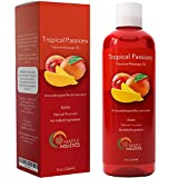 Natural Edible Massage Oil for Sensual Massage - Therapeutic Body Oil Skin Moisturizer for Glowing Skin - Anti Aging Skin Care with Nourishing Coconut Oil Sweet Almond Vitamin E and Jojoba Oil