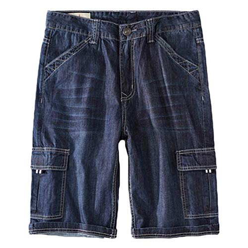 Thin Style Blue Ginocchio colore Al Medium Pantaloncini Dimensione Fuweiencore Style Vintage Sbiadito Lunghezza Uomo Tasche Da Jeans 38 Multi ZW8qwO6