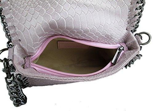 Clutch borsa da sera tracolla in catena vera pelle Made in Italy piton rosa fg