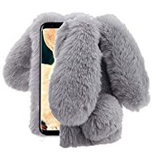 Aearl Samsung Galaxy Note 8 Case,Samsung Galaxy Note 8 Rabbit Fur Ball Case,Luxury Cute 3D Homemade Diamond Winter Warm Soft Furry Fluffy Fuzzy Bunny Ear Plush Back Phone Case Cover For Girls Women-Gray