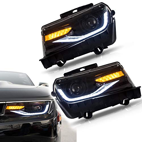 JDMSPEED New Front LED Projector Headlights Pair For 2014-2015 Chevrolet Chevy Camaro