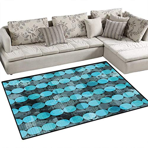 Grunge Girls Bedroom Rug Contemporary Art Inspiration with Dots in Cold Colors Freezing Cool Winter Ice Door Mat Indoors Bathroom Mats Non Slip 4'x6' Pale Blue ()