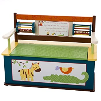 Image of Baby Wildkin Bench Seat with Storage, Jungle Jingle