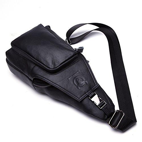 Bull Captain Genuine Leather Men Bag Travel Sling Pack Durable Cross Body Mens Back Packs with Pockets XB-086 (Black)