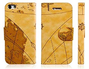 Map Print Faux Leather Flip Case for iPhone 5 (Yellow)