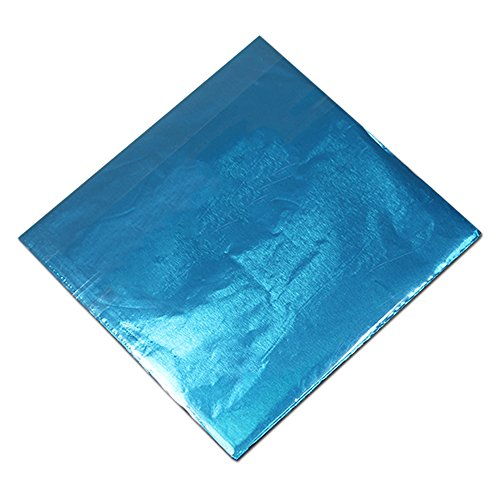 500 Pcs Chocolate Candy Wrappers Aluminium Foil Paper Wrapping Papers Square Sweets Lolly Paper Food Safety Candy Tin Foil Wrappers for Candy Packaging Decoration (Sky Blue, 4x4 inches)