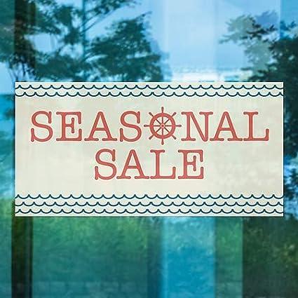 CGSignLab 5-Pack Seasonal Sale 24x12 Nautical Wave Window Cling