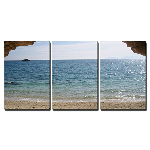 """Wall26 - 3 Piece Canvas Wall Art - Paradise Beach, Turquoise Sea and Cave in Sardegna, Italy - Modern Home Decor Stretched and Framed Ready to Hang - 16\""""x24\""""x3 Panels"""