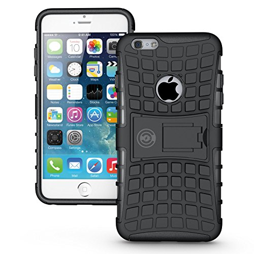 Case For iPhone 6 Plus, iPhone 6 Plus Case / iPhone 6S PLUS Armor cases (6+ ONLY) Tough Rugged Shockproof Armorbox Dual Layer Hybrid Hard/Soft Slim Protective Case (5.5 inch) by Cable and Case - Black