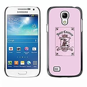 FlareStar Colour Printing Pink Funny Joker Card Poker Puppy Pink cáscara Funda Case Caso de plástico para SAMSUNG Galaxy S4 mini (NOT FOR S4!!!) / i9190 / i9192