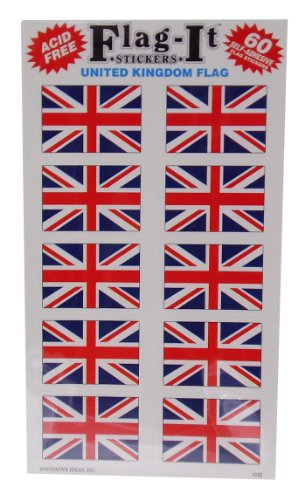 Jack Flag Stickers - Union Jack (British Flag) Self Adhesive Stickers Pack 50