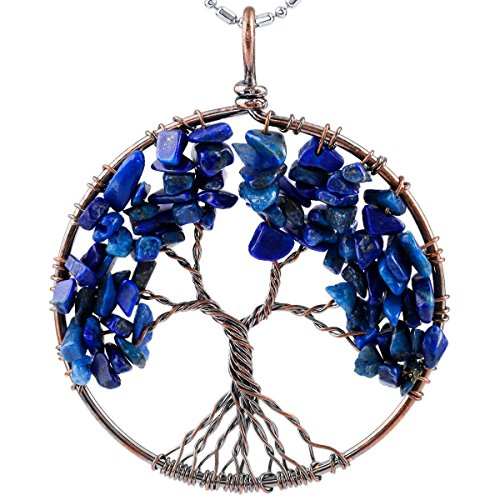SUNYIK Lapis Lazuli Eternal Tree of Life Pendant Copper Plated