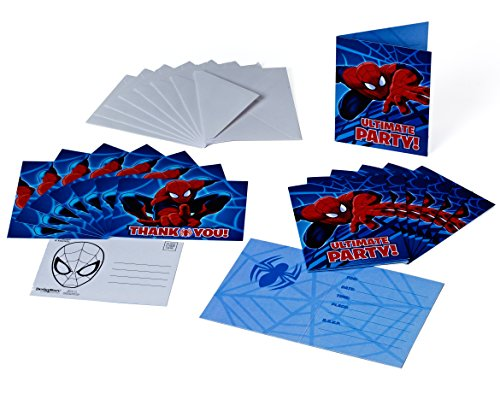 Spider-Man Invite and Thank You Combo, 8 Pack, Party Supplies