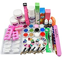 Birthday Gift!!! 24 in 1 Combo Set Professional DIY Nail Art Decorations Kit Brush Buffer Acrylic Glitter Powder Cuticle Revitalizer Oil Pen Tool Nail Tips Rhinestones Pearls Reusable Form Glue Acrylic Set #27