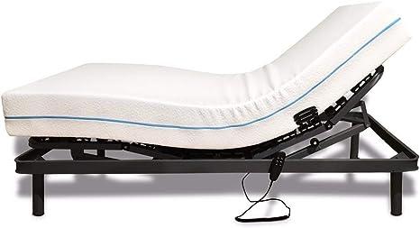 Duémete - Cama Eléctrica Articulada Reforzada 5 Planos + Colchón Dorsal Viscoelástico 90 x 190 cm