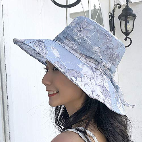 KCPer Women Visor Hat, Organza Flower Hat Chiffon Embroidery Casual Wide Brimmed Sun Hat Outdoor Sun Protection Floppy Foldable Beach Hat (Blue)