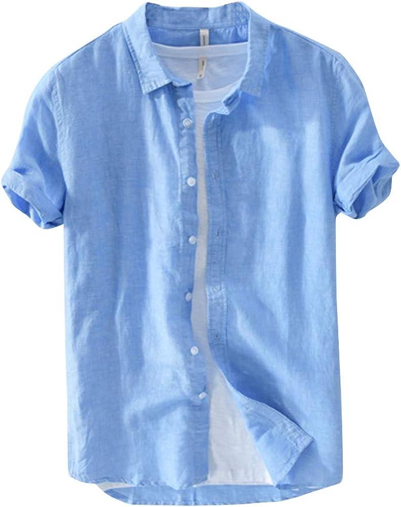 Camisa Lino Hombre Slim Fit Casual Transpirable Blusas De ...