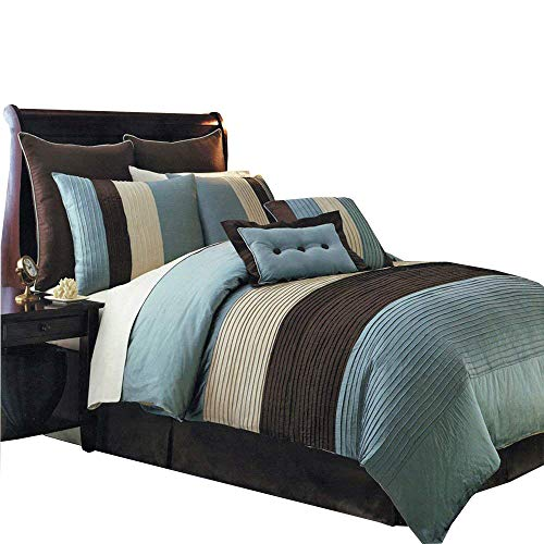 Hudson Teal Blue Queen size Luxury 8 piece comforter set includes Comforter, bed skirt, pillow shams, decorative pillows ()