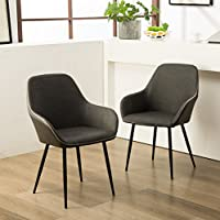 Roundhill Furniture C281GY Horgen Contemporary Faux Leather Dining Chairs, Gray, Set of 2