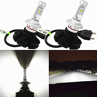 Alla Lighting Extremely Super Bright High Power ZES Chipset H7 H7LL LED Headlight Bulbs w/ 6000Lm 6500K Xenon White Headlamp All-in-One Conversion Kits-2yrs Warranty