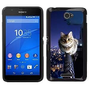 Caucho caso de Shell duro de la cubierta de accesorios de protección BY RAYDREAMMM - Sony Xperia E4 - Cool Cat City