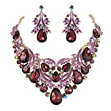 BriLove Gold-Toned Statement Necklace Dangle Earrings Jewelry Set for Women Bohemian Boho Crystal Teardrop Filigree Leaf Hollow Jewelry Set Deep Amethyst Color